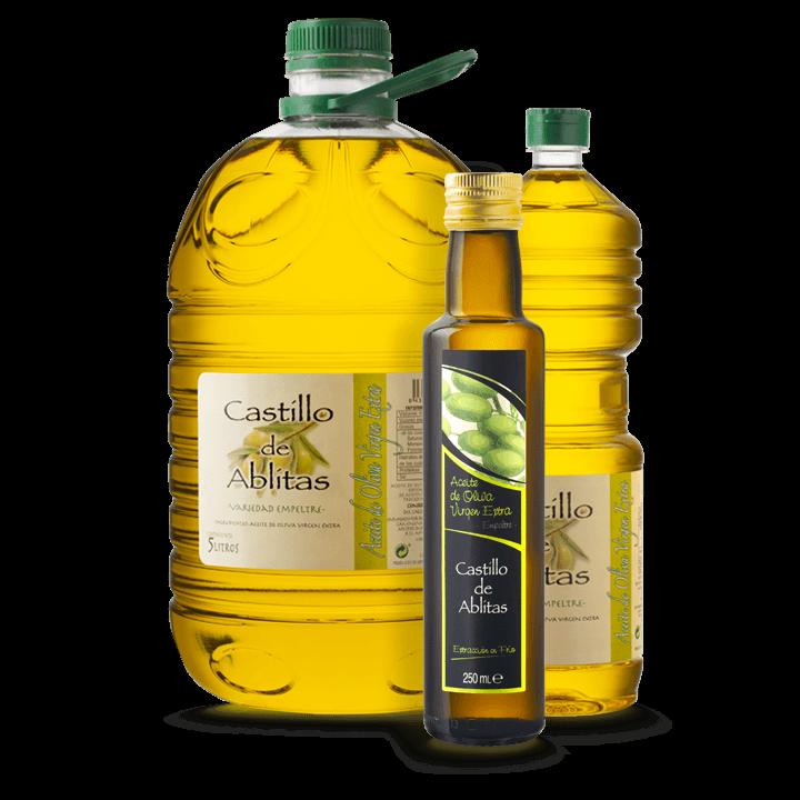 Botellas y garrafas de aceite de oliva virgen extra artesano de la variedad empeltre producido en cooperativa.