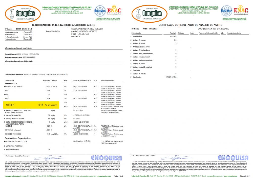 Certificado con resultados análisis. La acidez en el aceite de oliva empeltre que producimos es del 0,15 %.